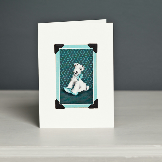 Fox Terrier with Shoe Greeting Card