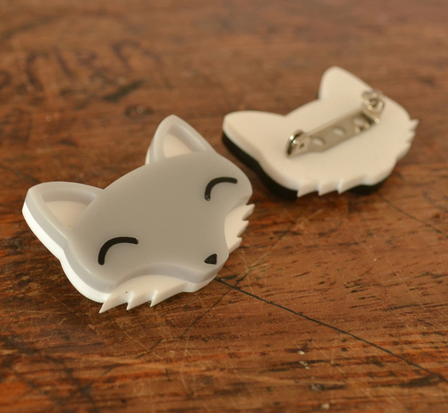 Cute Brooch - Wolf Brooch - Grey Fox Brooch - Acrylic Jewellery