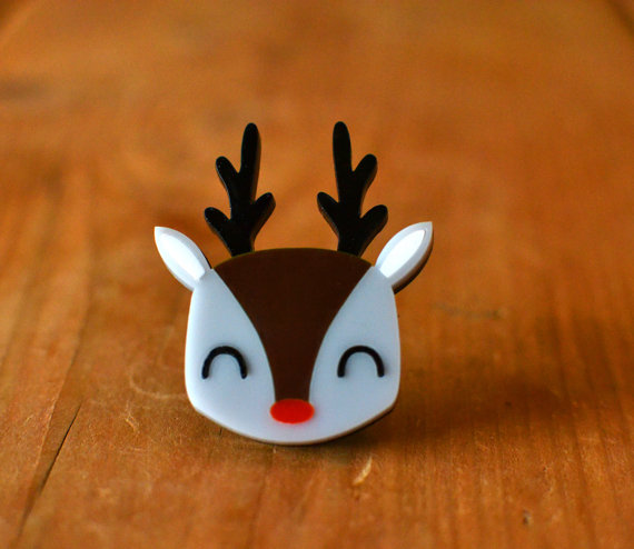 Christmas Gift - Stocking Filler - Christmas Brooch - Reindeer Brooch