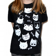 Childrens Cat Tshirt Kids T Shirt T-Shirt - Black or Grey