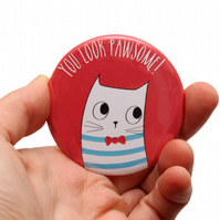 Stocking Filler - Cat Pocket Mirror - Hand Mirror - Cat Make Up Mirror