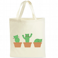 Cat Tote Bag - Cat Cactus Canvas Bag - Catcus Shopping Bag