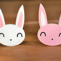 Brooch - Bunny Brooch - Rabbit - Available in Pink or White