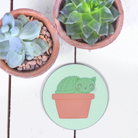 Cat Coaster Cactus Drinks Mat Tea Drinker Gift Gifts For Cat Lovers