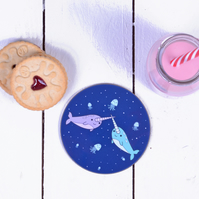 Stocking Filler Christmas Gift - Coaster - Narwhal Drinks Coaster