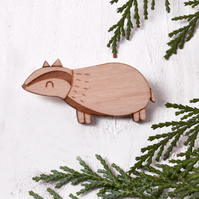 Badger Brooch - Wooden Pin Badge