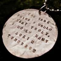 Personalised silver - Beaten Track - The Pendant