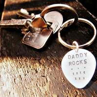 Gifts for musicians!  Personalised silver guitar plec keyring