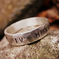 Engraved silver - Beaten Track - Unisex Ring