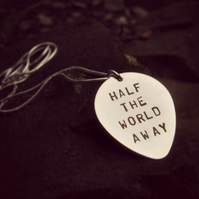 Engraved Silver Guitar Plectrum Necklace