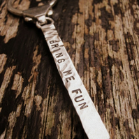 Silver Personalised Keyring - Bar