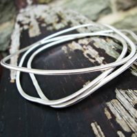 'Stepping Stones' - 3 Silver Bangle Stack