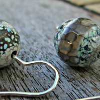 Tibetan Agate & Silver Earrings