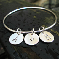 Personalised Charm Bangle (Sterling Silver)
