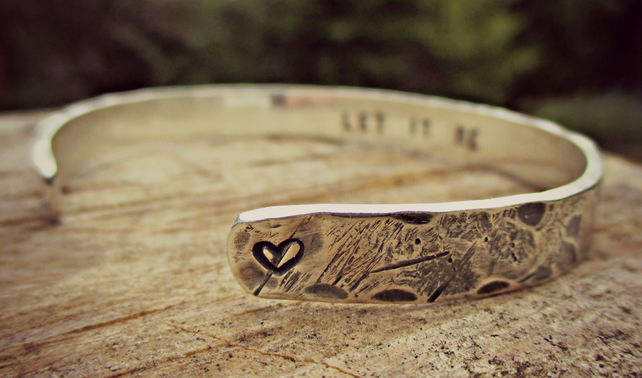 BEATEN TRACK CUFF - personalised Sterling Silver gift