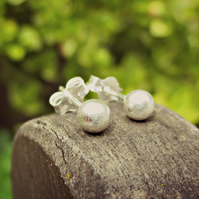 BRUSHED STUDS - sweet little Sterling Silver ear studs, pretty little things :)