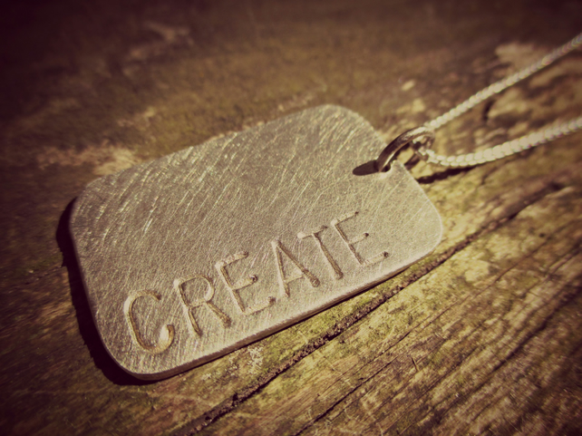 BRUSHED TAG - dogtag necklace, Sterling Silver, long or short, personalised