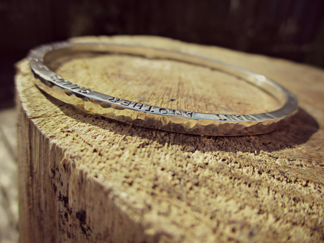 CHUNKY - Silver word bangle, hammered, solid, personalised with special words