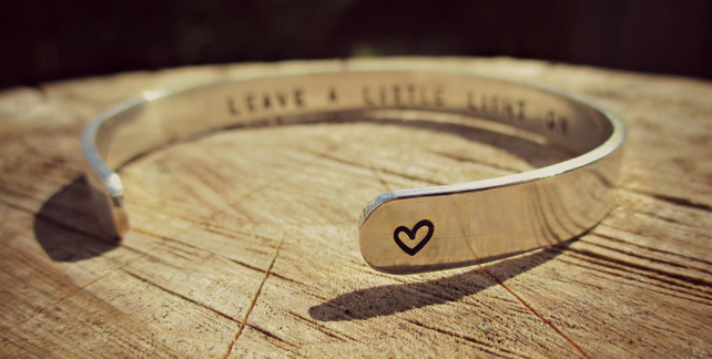 SHINE ON - word jewellery, Sterling Silver cuff, Remembrance jewellery