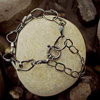 STEPPING STONES LINK BRACELET - beautiful hand-crafted chain, oxidised black