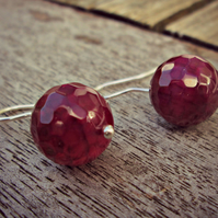 CRIMSON FIRE - fabulous Fire Agate & Sterling Silver earrings, wine coloured