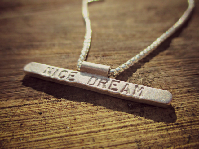 NICE DREAM - personalised unique Silver necklace, word necklace, lyrics jewelry