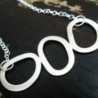 STEPPING STONES - wonderfully wonky Sterling Silver necklace, one of a kind
