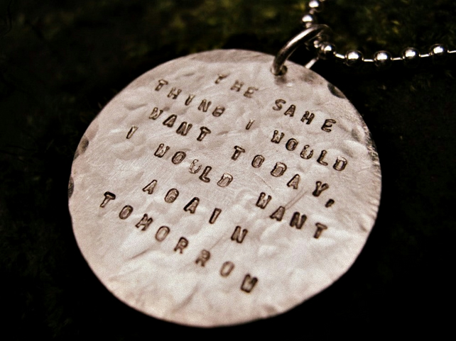 BEATEN TRACK - Sterling Silver battered & bruised pendant!  Personalised cool.