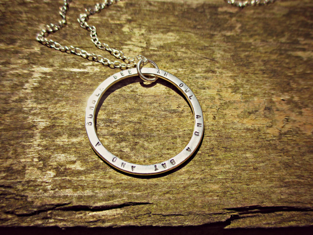 BIG FAT MOON - custom made Silver necklace, personalised with your words