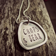 FRAMED WORD NECKLACE - Sterling Silver - childrens names - UK designer jewellery