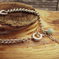 INFINITY BRACELET, OCTOBER BIRTHDAYS - Sterling Silver chain & Peruvian Opal