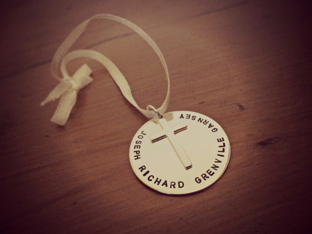 Christening, Baptism Gift - personalised Silver hanging decoration