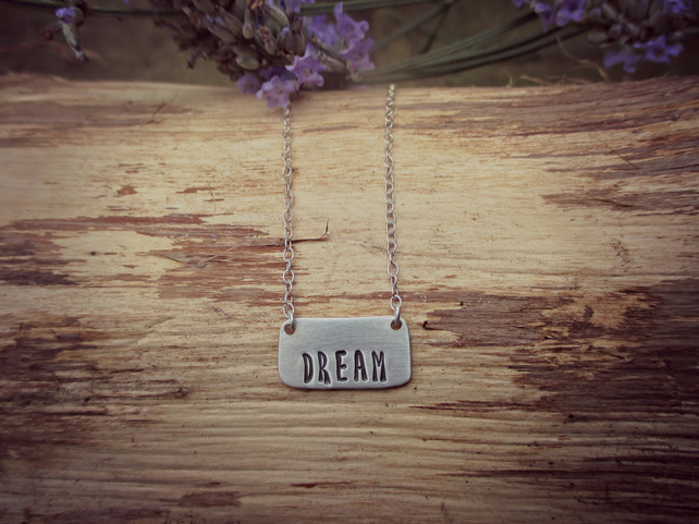 One Word - Silver necklace, choose your word, name or date