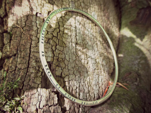 PIXIE - personalised Sterling Silver bangle, gift idea, ooak , word jewellery