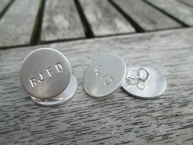 FRENCH DOUBLE CUFFLINKS, Handmade in Sterling Silver, initials, name or date