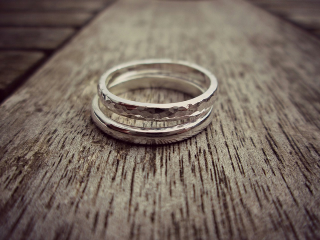 DUO - Sterling Silver ring stack, made for you, a gift for her