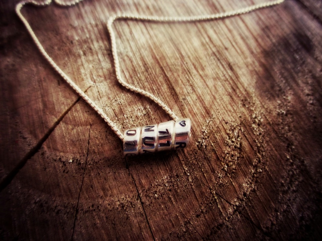 SCROLL NECKLACE - Sterling Silver word jewellery, personalised, wedding necklace
