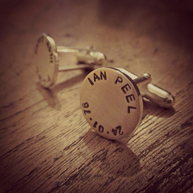 Personalised father's day gift - TUFFLINKS, Handmade in solid Silver, cufflinks.