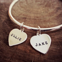 BEAT (AS ONE) - Heart charm bangle, Sterling Silver, personalised jewellery