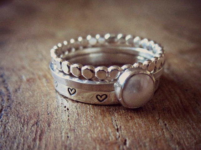 Pearl Ring Stack, Sterling Silver stacking rings, handmade in UK, pearl jewelry