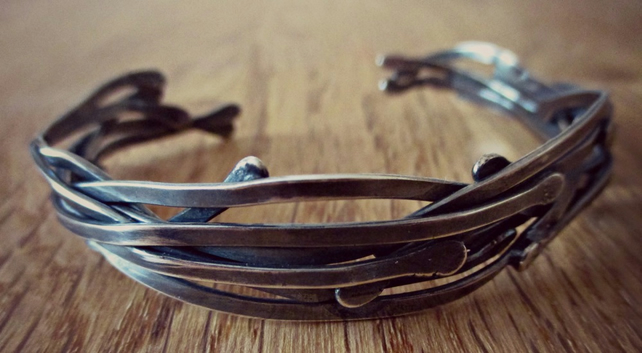 Twisted Vines - Cuff - Sterling Silver - ooak - organic design - nature inspired