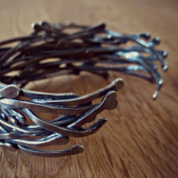 Twisted Vines - Sterling Silver - Oxidised Statement Cuff