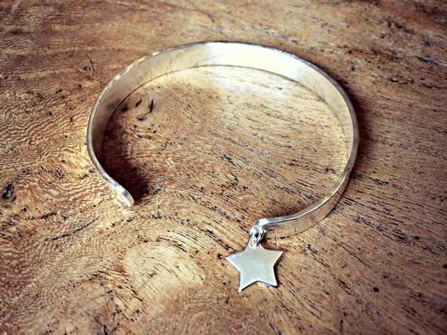 THE BRIGHTEST STAR - Personalised cuff, jewellery, star, Sterling Silver, words
