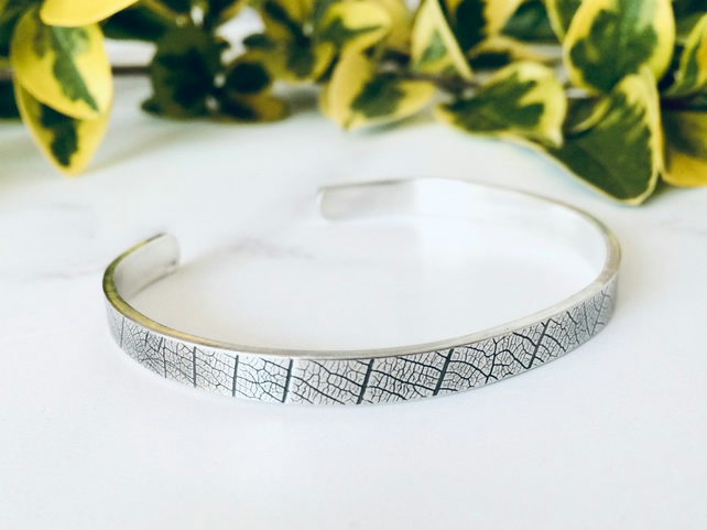 Sterling Silver cuff, leaf print, organic texture, inspired by nature