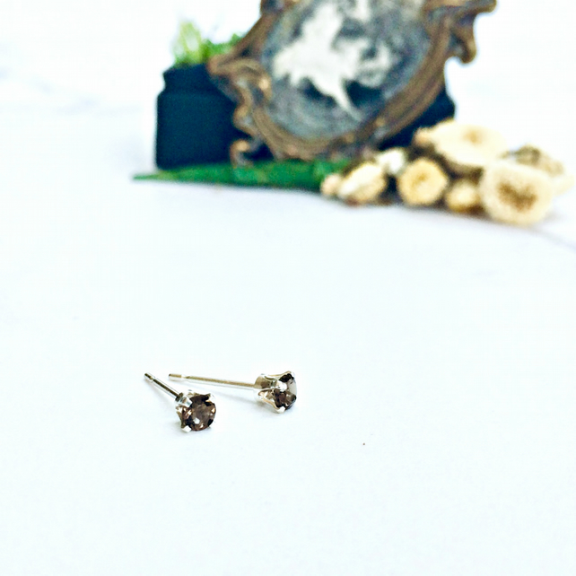 Smoky Quartz - teeny studs, gemstone earrings, grey studs, Sterling Silver
