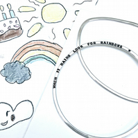 """Look for rainbows"" - Sterling Silver personalised slinky bangle"