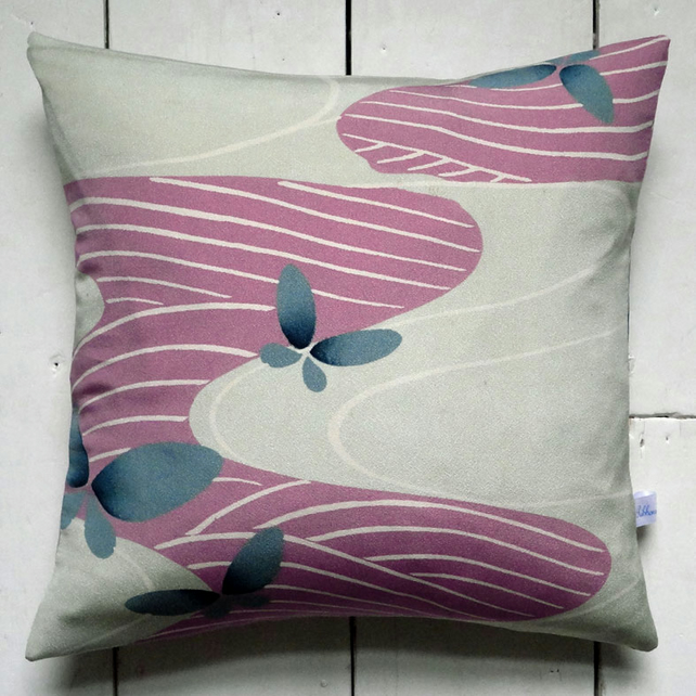 SALE! Pink, Blue & Green Retro Vintage Kimono Fabric Cushion 'Butterfly River'