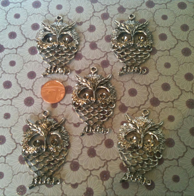 Large Owl Charm or Pendant