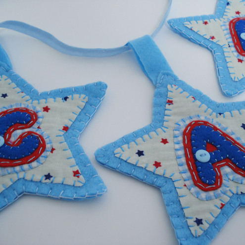 Bunting Personalised boys Handmade felt and fabric Blue gift