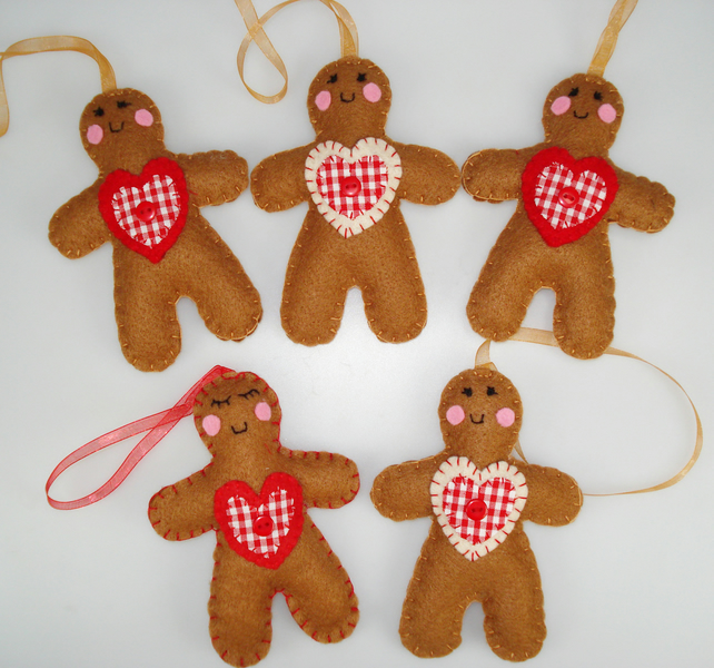felt Christmas tree decoration Gingerbread man - Folksy